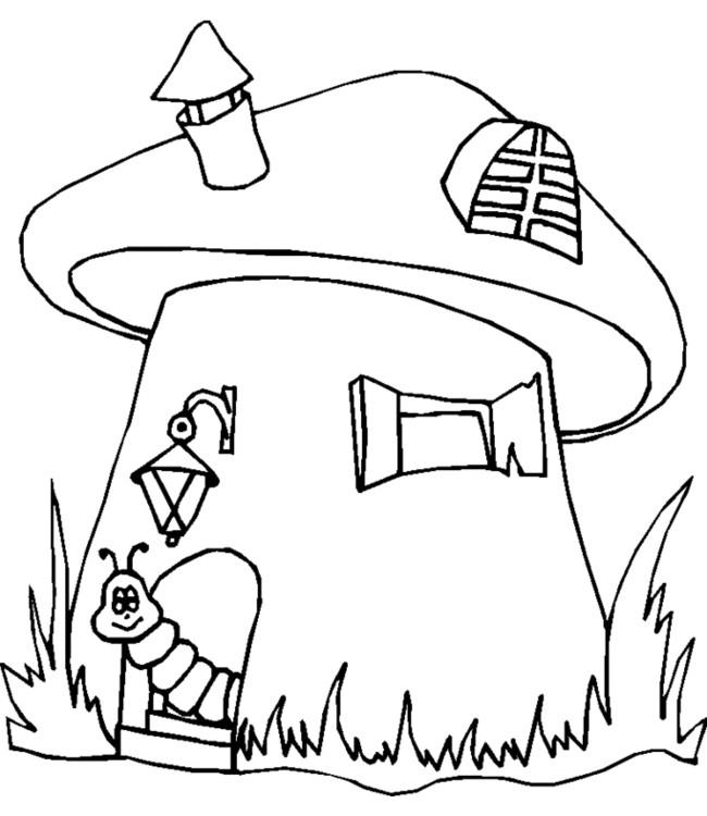 Coloriage le ver devant sa maison dessin gratuit imprimer - Dessin de champignons a imprimer ...