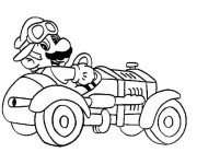 Coloriage Mario Bros et sa voiture de Course
