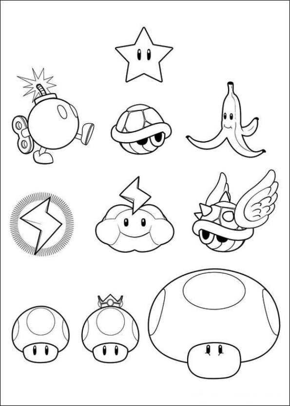 Coloriage Mario Bros Personnages Dessin Gratuit à Imprimer