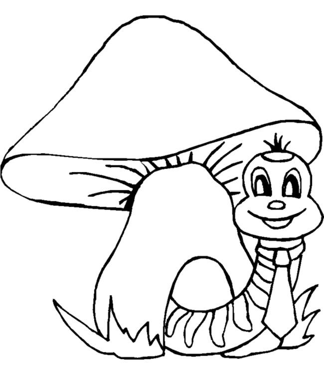 Coloriage et dessins gratuits Mario Champignon et ver à imprimer