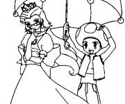 Coloriage et dessins gratuit Mario Champignon Toad et Peach en couleur à imprimer