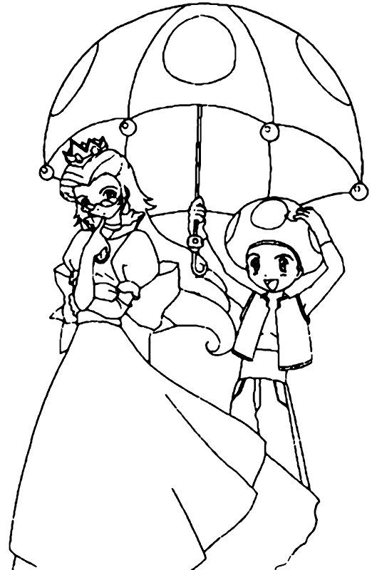 Coloriage Mario Champignon Toad Et Peach En Couleur
