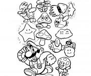 Coloriage Mario et ses amis facile