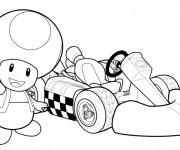 Coloriage Dessin Toad et voiture de course en couleur