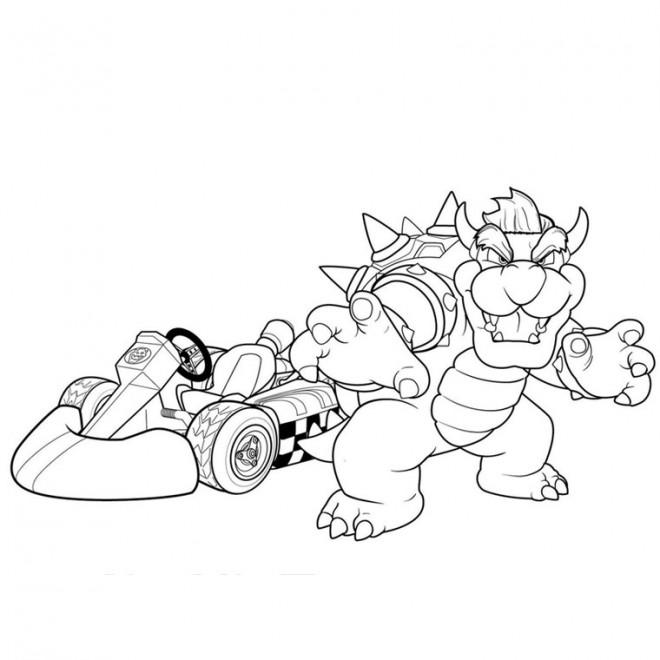 Coloriage et dessins gratuits Mario Kart Bowser à imprimer