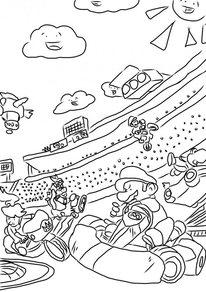 Coloriage et dessins gratuits Mario Kart Course Karting à imprimer