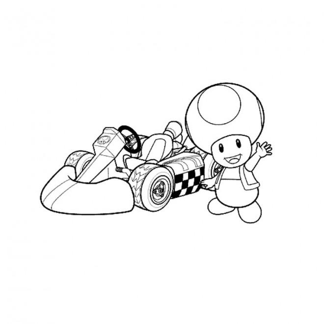 Coloriage Mario Kart Toad Dessin Gratuit à Imprimer