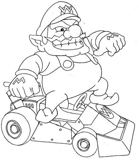 Coloriage mario kart wario dessin gratuit imprimer - Dessin de mario kart ...