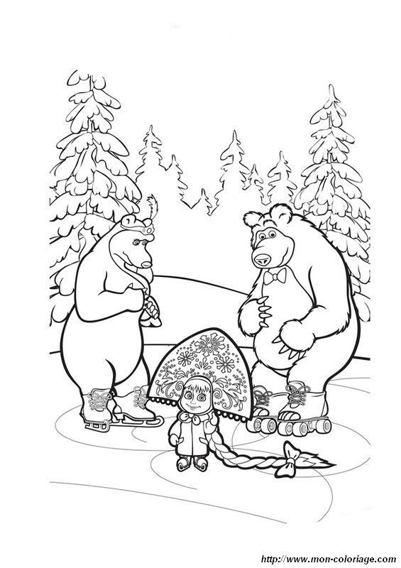 Coloriage et dessins gratuits Image Masha et Michka à imprimer