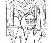 Coloriage Masha cherche le lièvre
