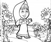 Coloriage et dessins gratuit Masha dans la nature à imprimer