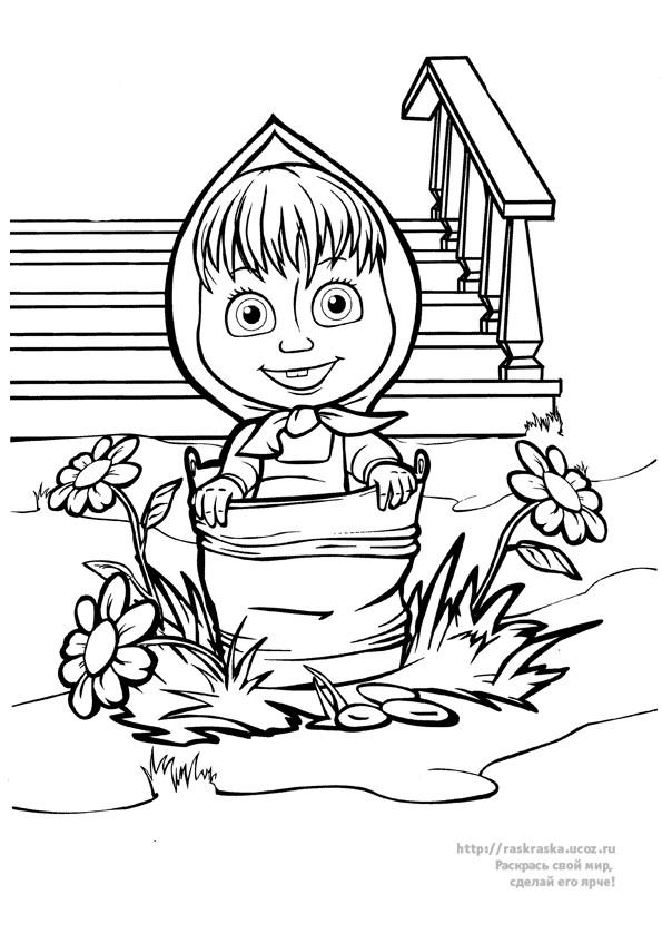 Coloriage masha dans le seau dessin gratuit à imprimer
