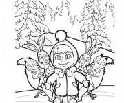 Coloriage et dessins gratuit Masha et les lièvres à imprimer