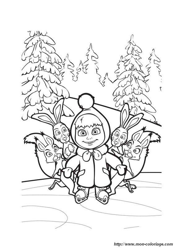 Coloriage et dessins gratuits Masha et les lièvres à imprimer