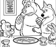 Coloriage Masha et Michka anniversaire