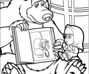 Coloriage et dessins gratuit Masha et Michka et image de sorcière à imprimer