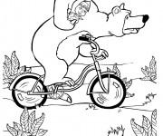 Coloriage et dessins gratuit Masha et Michka sur le vélo à imprimer