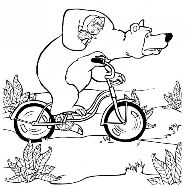Coloriage Masha Et Michka Sur Le Vélo Dessin Gratuit à Imprimer