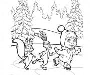 Coloriage Masha et ses amis dans la forêt