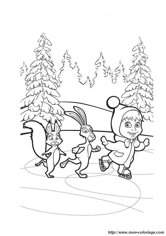 Coloriage et dessins gratuits Masha et ses amis dans la forêt à imprimer