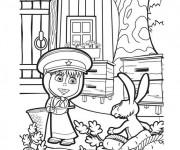 Coloriage Masha joue avec le lièvre