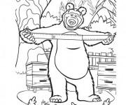 Coloriage et dessins gratuit Michka et une règle à imprimer