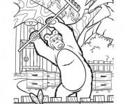 Coloriage et dessins gratuit Michka fait de jardinage à imprimer