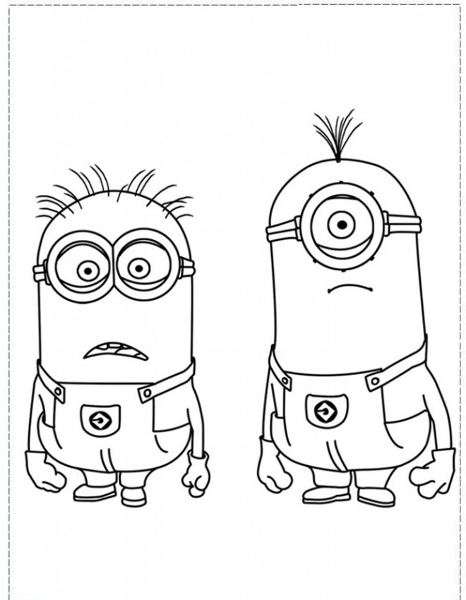 Coloriage et dessins gratuits Minion Kèvin et Stuart pour enfant à imprimer