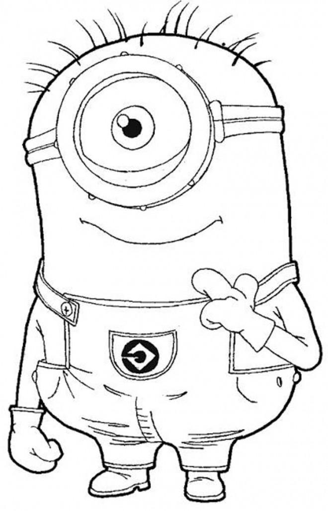 Coloriage et dessins gratuits Minion Stuart dessin animé à imprimer