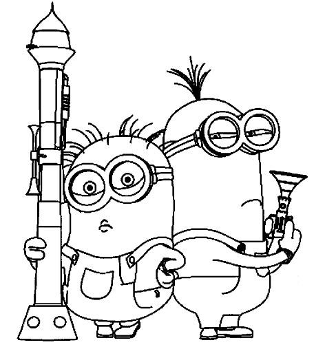 Coloriage et dessins gratuits Bob et Stuart tiennent leurs armes à imprimer