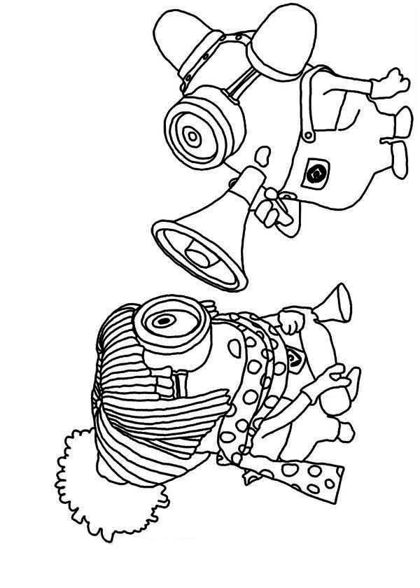 Coloriage et dessins gratuits Les Minions communication à haute voix à imprimer