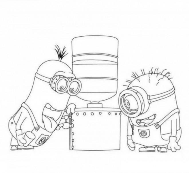Coloriage et dessins gratuits Les Minions et filtre à eau dessin à imprimer