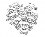 Coloriage dessin  Les Minions fête