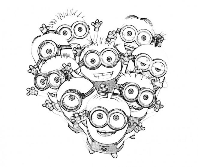 Coloriage et dessins gratuits Les Minions fête à imprimer
