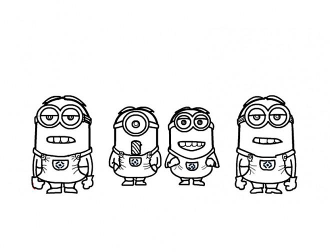 Coloriage et dessins gratuits Les quatres Minions en ligne à imprimer