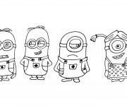 Coloriage dessin  Minions Bob, Stuart et Kevin