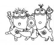 Coloriage dessin  Minions fêtent en ligne