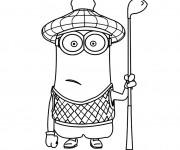 Coloriage Minions Kevin joue au Golf