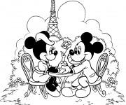 Coloriage Mickey et Minnie se dînent à Paris