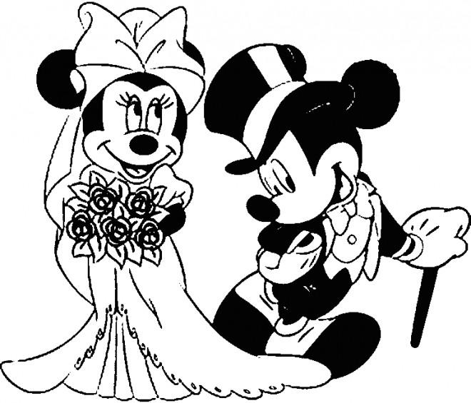 Coloriage et dessins gratuits Mickey et Minnie se marient à imprimer