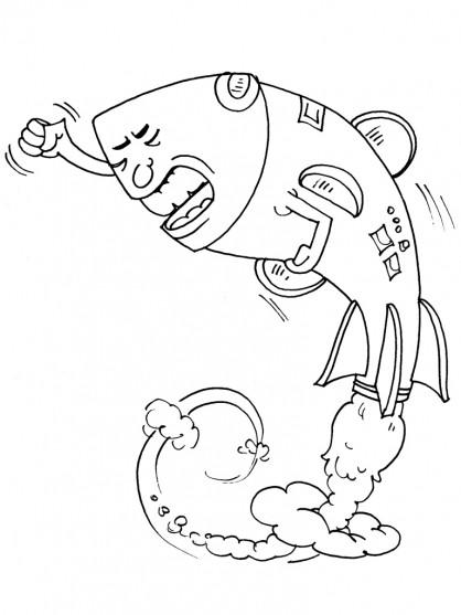 Coloriage et dessins gratuits Monsieur Malchance Le Fusée à imprimer