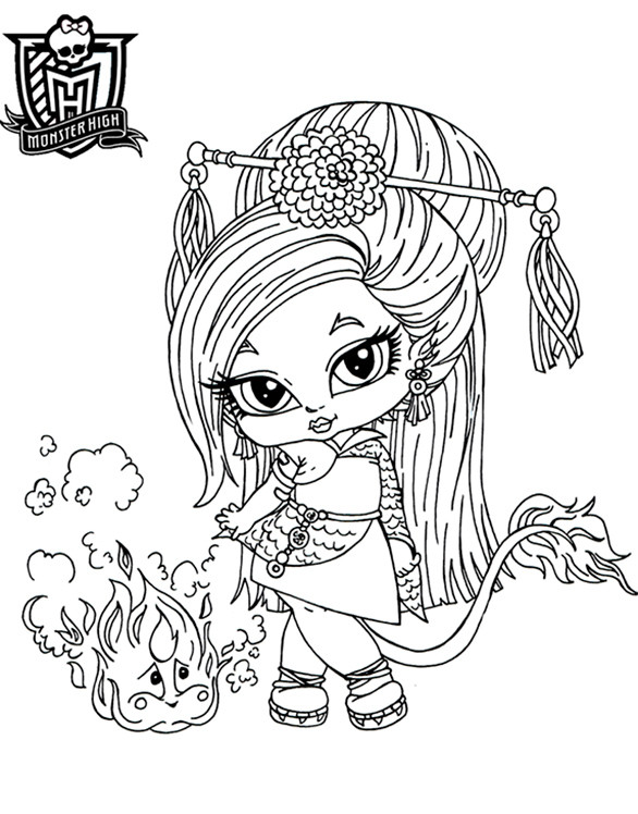 Coloriage et dessins gratuits Monster High bébé Jinafire Long à imprimer