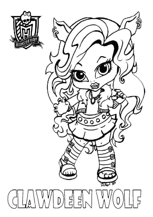 Coloriage monster high clawdeen baby dessin gratuit imprimer - Comment dessiner une monster high ...