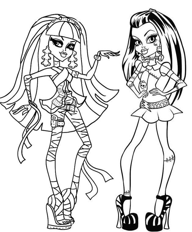 Coloriage et dessins gratuits Monster High Cléo de Nile et Frankie Stein à imprimer
