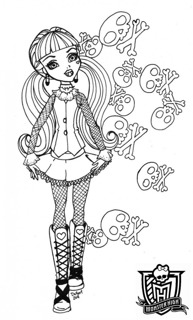 Coloriage Monster High Draculaura Petite Fille Dessin