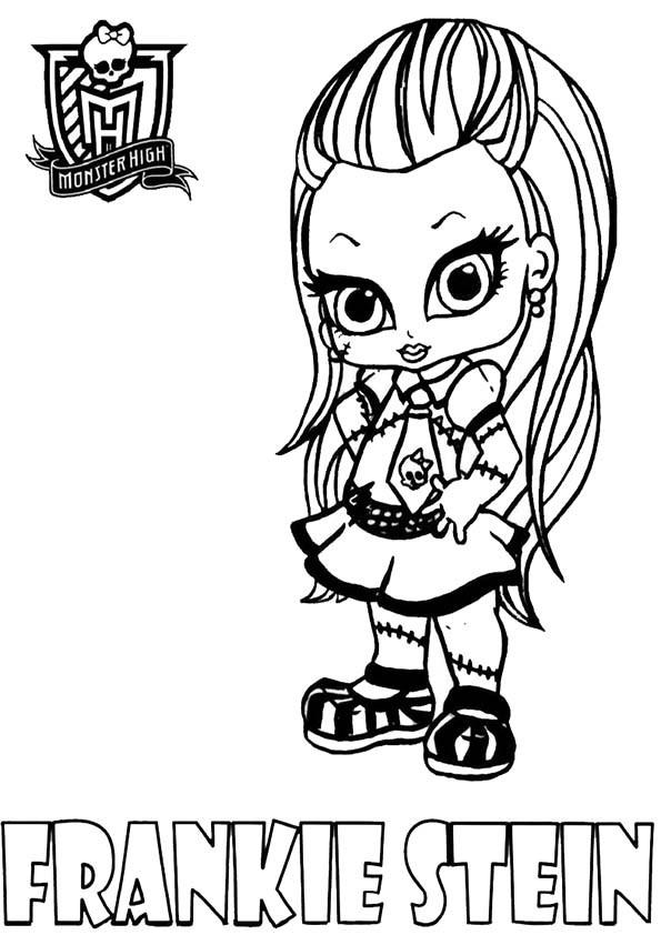 Coloriage et dessins gratuits Monster High Frankie fillette facile à imprimer