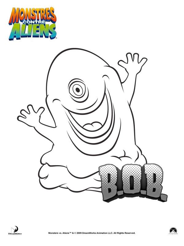 Coloriage et dessins gratuits Monstre contre Alien B.O.B à imprimer