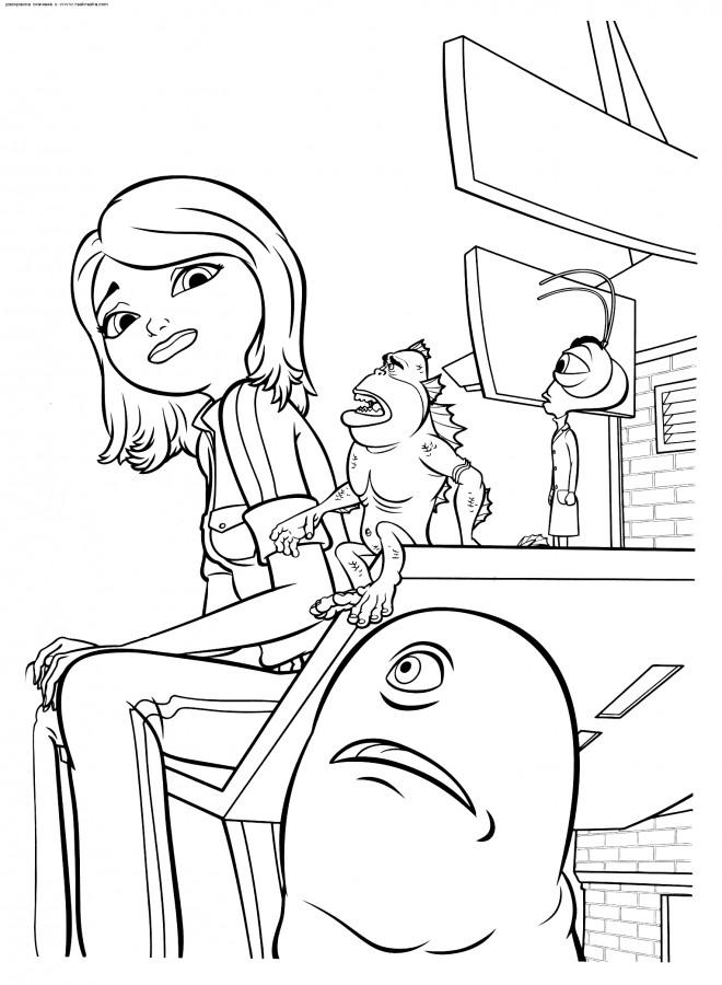 Coloriage et dessins gratuits Monstre contre Alien Susan et B.O.B à imprimer