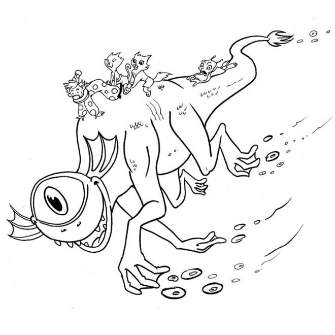 Coloriage et dessins gratuits monstre maritime à une oeil à imprimer