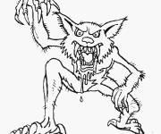 Coloriage dessin monstre loup-garou
